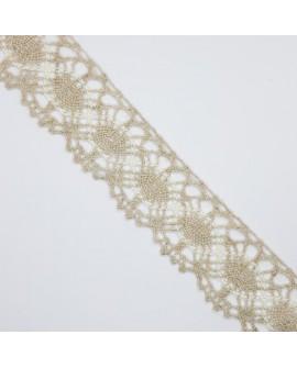 Encaje y entredos de bolillo de 4 cms bicolor lino y beige. Adorno decorativo especial remates en prendas y complementos.