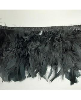 Fleco de plumas de pavo de color negro. Tira decorativa chic y elegante para prendas y complementos, tanto de fiesta como casual