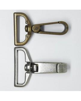 Mosquetón metálico envejecido vintage. Adorno fuerte y resistente para bolsos, cinturones,.. Pieza versátil para múltiples usos.