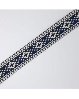 Cinta tapacosturas o cubrecosturas de rombos bordados. Especial para prendas y complementos del hogar.