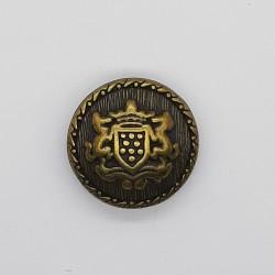 Botón metálico escudo clásico decorativo oro viejo. Adorno decorativo ideal para chaquetas, trajes, disfraces y complementos