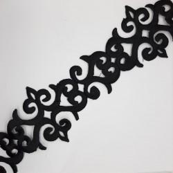 Galón bordado temoadhesivo de color negro. Adorno decorativo especial para remates y acabados en prendas y complemtos