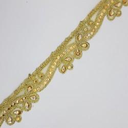 Galón fantasía dorado con piedras brillante. Adorno novedoso y distinguido para tus prendas y complementos.