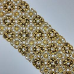 Galón fantasía dorado brillante. Adorno decorativo para prendas y complementos, tanto de fiesta como casuales.