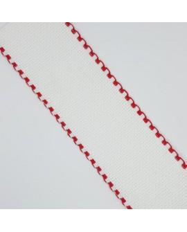 Cinta entredos de panamá para punto de cruz. De color blanco con remate rojo. Especial para bordar.