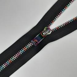 Cremallera multicolor separador metalizada fantasía de 50 cms decorativa especial para prendas y accesorios