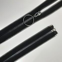 Cremallera metálica separador con dientes y cursor redondo negro pavonado. Ideal para ser visible en prendas y complementos.