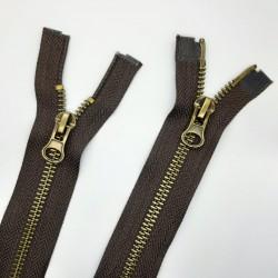 Cremallera metálica especial doble cursor ideal para chaquetas, cazadoras y abrigos largos color marrón