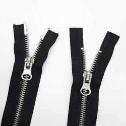 Cremallera negra especial doble cursor niquel ideal chaquetas, cazadoras y abrigos largos