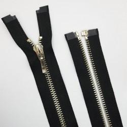 Cremallera negra decorativa separador de 60 cms con malla oro claro visible. Ideal para chaquetas y abrigos.