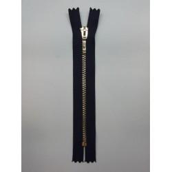 Cremallera negra 25 cms malla oro claro visible