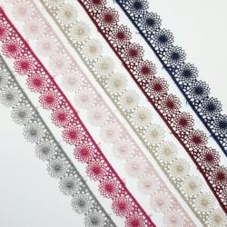 Encaje guipur  1,7 cms con acabado en flor ideal para trajes regionales, sábanas, toallas, colchas,... y muchos más proyectos.