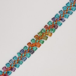 Galón decorativo multicolor de 1 cms. Cinta para remates y acabados en prendas, complementos, menajes del hogar,..