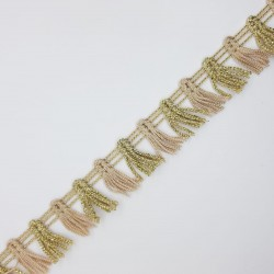 Fleco fantasía corto decorativo de 2 cms con brillo especial para remates y acabados en prendas y complementos color oro y camel