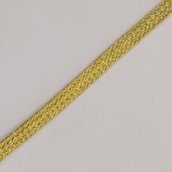 Cordón plano metalizado trenzado dorado 6 mm