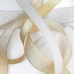 Cinta metalizada plateada especial para lazada. Ideal para recogidos, cestas, cajas de regalos, eventos, bodas,..