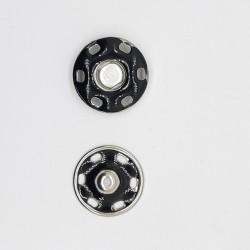 Broche automático negro esmaltado decorativo