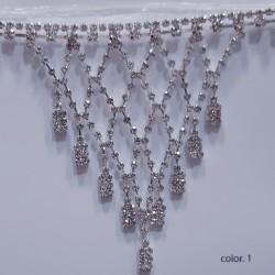 Fleco fantasía de picos y piedras strass. Elegante y distinguido, ideal para bodas, ceremonias, galas, espectáculos,..