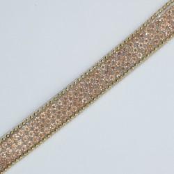 Tira de cristal termoadhesiva 1 cms. Galón decorativo de color oro rose, ideal para prendas y complementos de fiesta o casual.