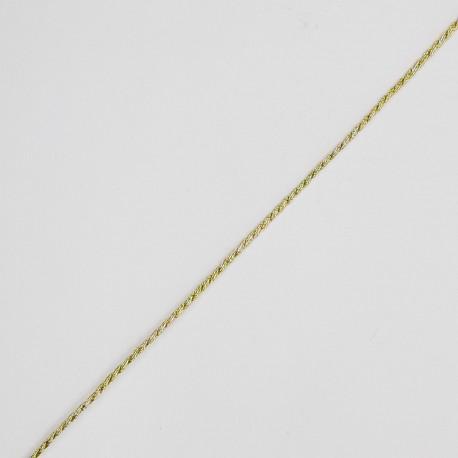 Cordón trenzado metalizado 1,5 mm de color oro fino y elegante. Ideal para tarjetas de regalos en bodas, bautizos y comuniones.