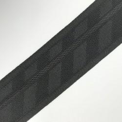 Cinta elástica suave de 5,5 cms. Dibujo lurex negro. Especial para cintura o cinturillas en faldas y pantalones.