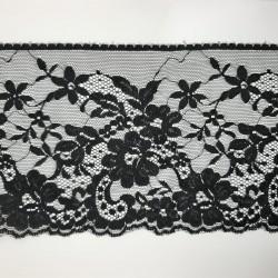 Encaje nylon de color negro de 13 cms con flores decorativas. Especial para prendas y complementos, tanto de fiesta o casual.