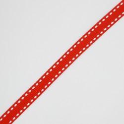 Cinta de faya con pespunte de 1 cms y color rojo. Especial para decorar regalos, recuerdos de comunión, servilletas,..