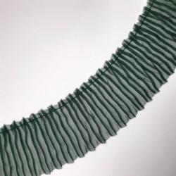 Plisado arrugado de gasa organza de 6 cms verde botella. Ideal para dar longitud y volumen a tus prendas y complementos.