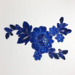 Aplicación flor lentejuelas azulón termoadhesivo