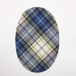 Rodillera codera cuadros escocés beige azul termoadhesiva