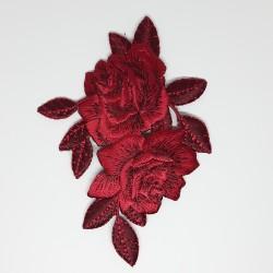 Aplicación bordada termoadhesiva floral burdeos