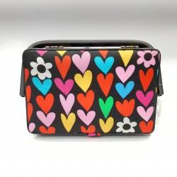 Costurero caja de costura dibujo corazones multicolor