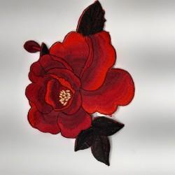 Aplicación bordada flor de 24 cms termoadhesiva. Adorno original para prendas y complementos.