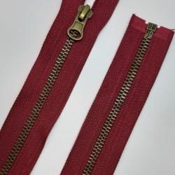 Cremallera separador metálica de 60 cms y color burdeos. Especial prendas de aperturas completa, chaquetas, abrigos, cazadoras,.