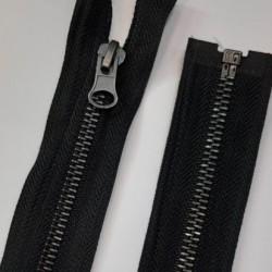 Cremallera metálica separador diente plata vieja 60 cms. Especial para abrigos, anorak y chaquetas.