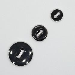 Botón negro esmaltado filo plata de 2 agujeros. Bonito botón plano y fino decorativo