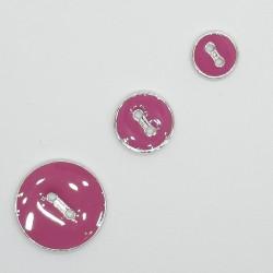 Botón rosa esmaltado filo plata de 2 agujeros. Bonito botón plano y fino decorativo
