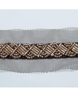 Tira pasamanería abalorios de color cobre y tul decorativo. Ideal para decorar o reparar tus prendas y complementos
