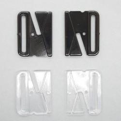 Broche bikini y sujetador de plástico negro y transparente