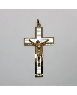 Cruz con imagen dorada. Especial para primera comunión, cofradías y actos religiosos. De diseño elegante y sencillo.