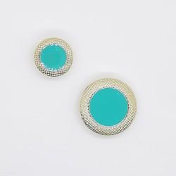 Botón metálico verde mar con filo brillante dorado, elegante y original para tus prendas y complementos