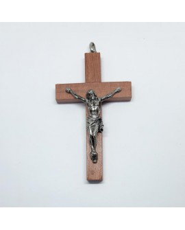 Cruz clásica de madera con imagen plateada. Especial para primera comunión, cofradías y actos religiosos