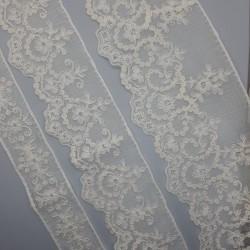 Juego entredos bordado y tira bordada muselina de color marfil, ideal para prendas y complementos de ceremonias