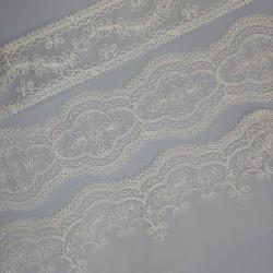 Juego entredos organza y tira bordada marfil, adorno fino y elegante especial para prendas y complementos de ceremonias
