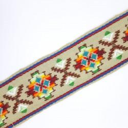 Galón pasamanería con dibujo étnico de 5 cms. Especial para remates y acabados en prendas y complementos.