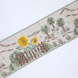 Galón tapacosturas de 6 cms con dibujo de girasoles. Ideal para alargar prendas, cubrir costuras, esconder juntas, manualidades.