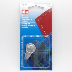 Agujas surtidas y enhebrador de la casa Prym especiales para coser y zurcir.