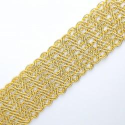 Galón pasamanería metalizada dorada 4 cms. Ideal para remates y acabados. Adorno versátil para un sinfín de proyectos decorati