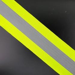 Cinta reflectante con filos de color fluorescente de 5 cms para coser. Especial para la visibilidad nocturna.