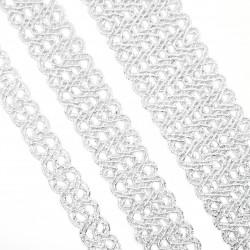 Galón pasamanería metalizada plateada. Adorno elegante ideal para remates y acabados en prendas y complementos.